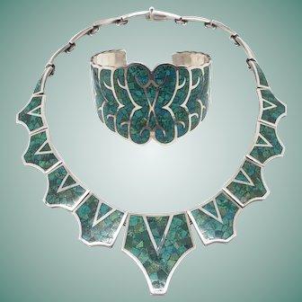 Vintage Arte En Plata Mexican Sterling Silver Malachite Inlay Necklace Bracelet Set Taxco Mexico