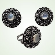 Bold Arts & Crafts Etruscan Antique Sterling Cannetille Moonstone Earrings Ring Set Screw Back