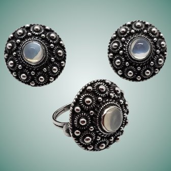 Bold Arts & Crafts Etruscan Antique Sterling Cannetille Moonstone Earrings Ring Set Screw Back