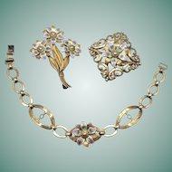 Art Deco Symmetalic Sterling & 14K Gold Enamel Bracelet and Brooch Set Floral Design