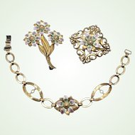 Art Deco Symmetalic Sterling & 14K Gold Enamel Bracelet and Brooch Set Floral Design