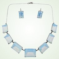 Serene Opalite and Silver Japanese Necklace & Earring Set Vintage 1950s