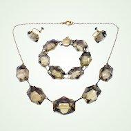 Powerful Japanese Smoky Quartz & Vermeil Silver Necklace Bracelet Earring Set