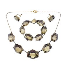 Powerful Japanese Smoky Quartz & Vermeil Silver Necklace Bracelet Earring Set
