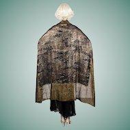1920s Lamé Shawl Black Silk & Gold Metallic Thread Art Deco Abstract Asian Design Piano Throw