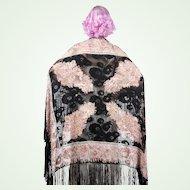 1920s Devore Burn Out Silk Velvet Art Deco Shawl Pastel Colors Paisley Pattern Fringe