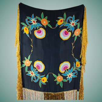 1920s Hand Painted Silk Shawl with Art Deco Floral Design Midnight Blue Background Gold Long Fringe Tablecloth