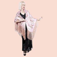1920s Pink Lamé Lame Shawl Silk & Antique Silver Metallic Thread Art Deco Floral Design Piano Tablecloth
