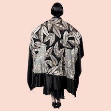Dramatic 1920s Art Deco Silk Opera Shawl Wrap with Gold Metallic Embroidery & Glass Beading French
