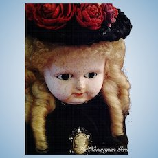 Elegant, Early Wax Over Papier Maché German Doll