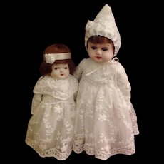 RESERVED FOR CLIENT | Sweetest Little Antique Papier Mache Sister Dolls
