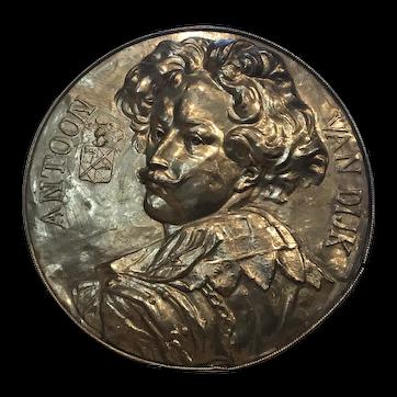 """19thC Brass Plaque Antoon Van Dijk 23"""" Diam. Signed A. Ames"""