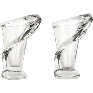 Pair of Crystal Glass Vases by Art Vannes France