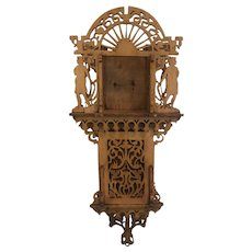 Arts & Crafts Style Hand-Carved Reticulated Clock Case