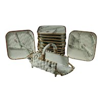 19thC French Majolica 13pc Asparagus Set