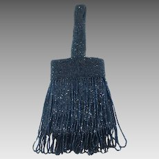 1920's Flapper Style Blue Micro Beaded Bag