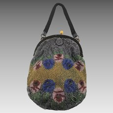 Vintage 1930s Oval Beaded Evening Bag