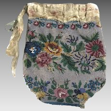 Victorian Micro Bead Floral Ladies Bag with Draw String Closure