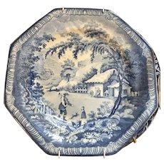 19thC English Pottery Blue Transferware by Brameld, Octagon 1806-1845 ca