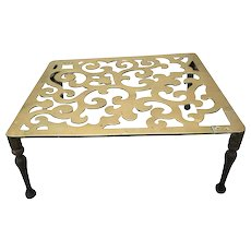 "Large Brass 19thC English Fireplace Trivet, 21""W x 18-1/4""D x 9""H"