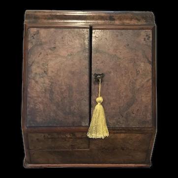 Early 18C Antique English Scribe Stationary Desk - Mahogany, Walnut with Burl
