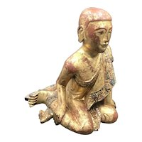 19thC Carved Wooden Gilt Burmese Buddha Monk