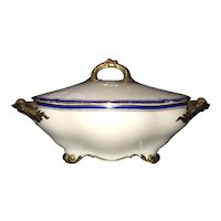 B & Co. France, Tureen & Lid,  Footed, Style Laurel Rim, White with Blue & Gold Bands and Gold Filigree, Superb!