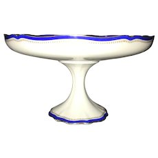 B & Co. France, Large Compote,  Style Laurel Rim, White with Blue & Gold Bands and Gold Filigree, Pristine!