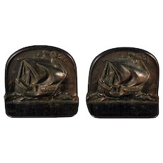 Plated Iron Clipper Bookends, Signed & Dated 1925