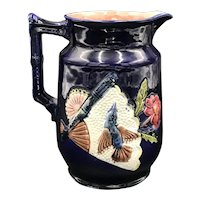 Victorian Majolica Cobalt Fan & Bird Pitcher