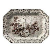 c. 1884 Victorian Polychrome Brown Transferware Platter - Devonshire 2303