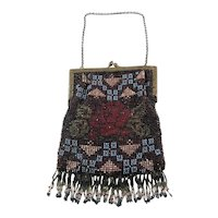 Vintage 1920s Fringed Beaded Evening Bag with Monogram