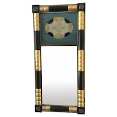 Federal Style Reverse Painted Mirror with Geometric Design Turquoise/Orange/Black/Gold