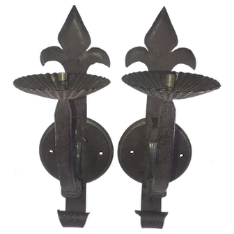 Pair 19thC French Canadian Solid Iron Wall Sconces