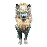 Vintage Bronze Gold Gilt Khmer Foo Dog/Lion/Singha Dragon Statue
