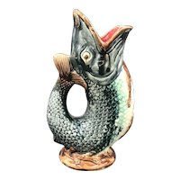 19thC French Majolica Fish Gurgle Pitcher