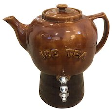 Cordley & Hayes Yellow Ware / Stoneware Ice Tea Dispenser on Stand