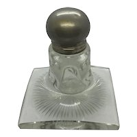 Huge Art Deco Satin Glass and Pewter Inkwell