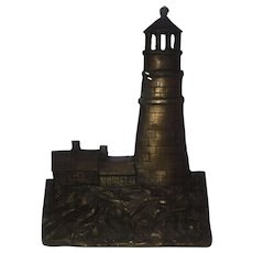 Rare 1925 Lighthouse Doorstop by A.M. Greenblatt Studio Dated 1925, Authentic