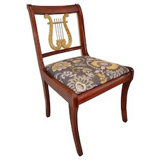 Vintage Mahogany Lyre Back Side Chair with Newly Upholstered Seat