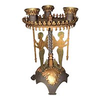Vintage Late Art Deco - Hollywood Regency Metal Mermaid Themed 3 Candle Candelabra, 1935-1940s