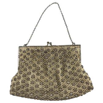 Vintage 1940's Crocheted and Rhinestone Evening Bag