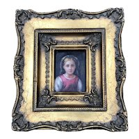 19thC Miniature Portrait Girl with Bow