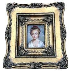 19thC Miniature Portrait Young Woman
