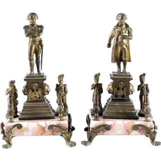 Pair Bronze Napoleon Statuettes on Plinths on Marble