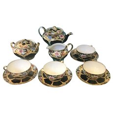 Anitque 11 pc Black and Floral Tea Set Marked Hand Painted Nippon