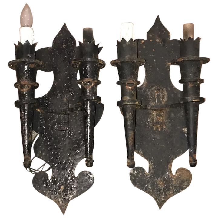 Early 20thc Hand Forged Gothic Iron Electrified Double Torch Wall Sconces
