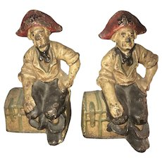 Early 20thC Cast Iron Pirate Bookend on Treasure Chests with Original Paint