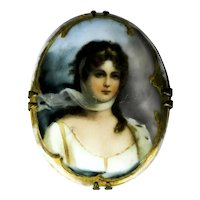 Princess Louisa of Prussia Miniature on Porcelain Brooch