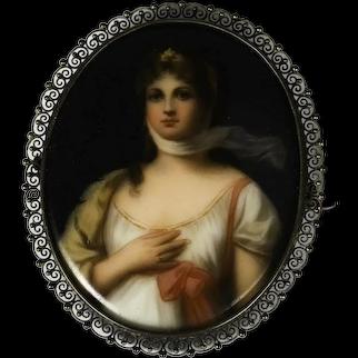Princess Louisa of Prussia Miniature on Porcelain Brooch